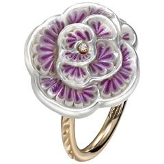 Sicis Roseline Diamond Mother of Pearl Micromosaic Gold Ring