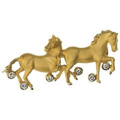 Carrera y Carrera Diamond Gold Horse Brooch