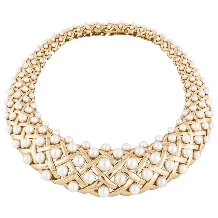 Chanel Pearl Yellow Gold Bib Collar Necklace