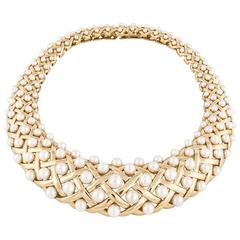 Chanel Yellow Gold Pearl Bib Collar Necklace