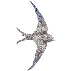 1920s Bird Brooch Embellished in Diamonds and Gemstones