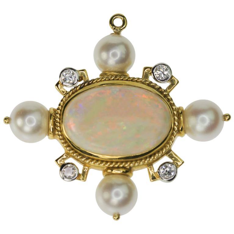 Ethiopian Opal Pearl Gold Platinum Brooch Pendant
