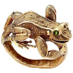 Craig Drake Colossal Chrysoberyl Cats Eye Gold Frog Hinged Bangle Bracelet