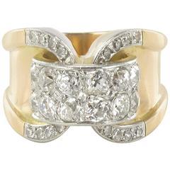 1940s French Diamond Rose Gold Tank Ring