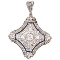 Antique Sapphire Diamond Gold Platinum Pendant