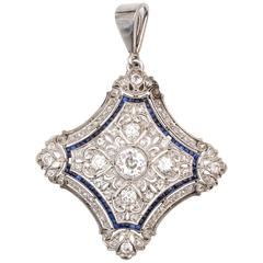 Antique Sapphire Diamond Gold Platinum Pendant