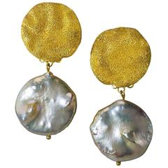 Pearl Silver Gold Textured Drop Dangle Clip-on Earrings by Alex Soldier Ltd Ed