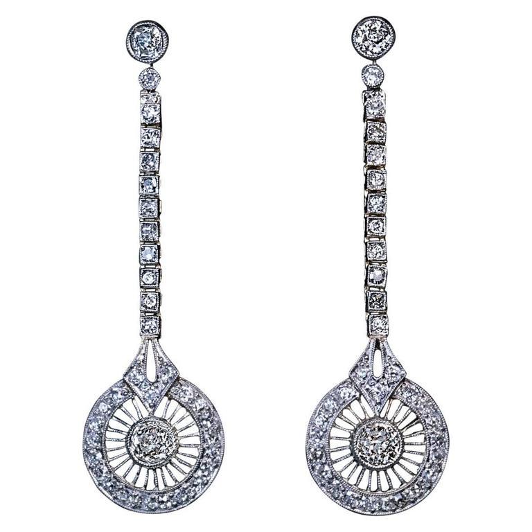 1920s Art Deco Diamond Gold Platinum Dangle Earrings For Sale