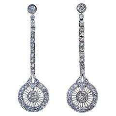 1920s Art Deco Diamond Gold Platinum Dangle Earrings