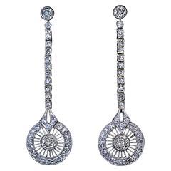 1920s Art Deco Diamond Platinum Gold Dangle Earrings