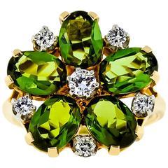 Lovely Circa 1960 Tourmaline and Diamond Flower Ring