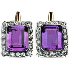 Russian Art Deco Amethyst Diamond silver topped gold Cluster Earrings