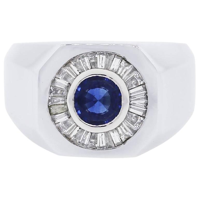 0.60 Carat Diamond Sapphire Platinum Ring