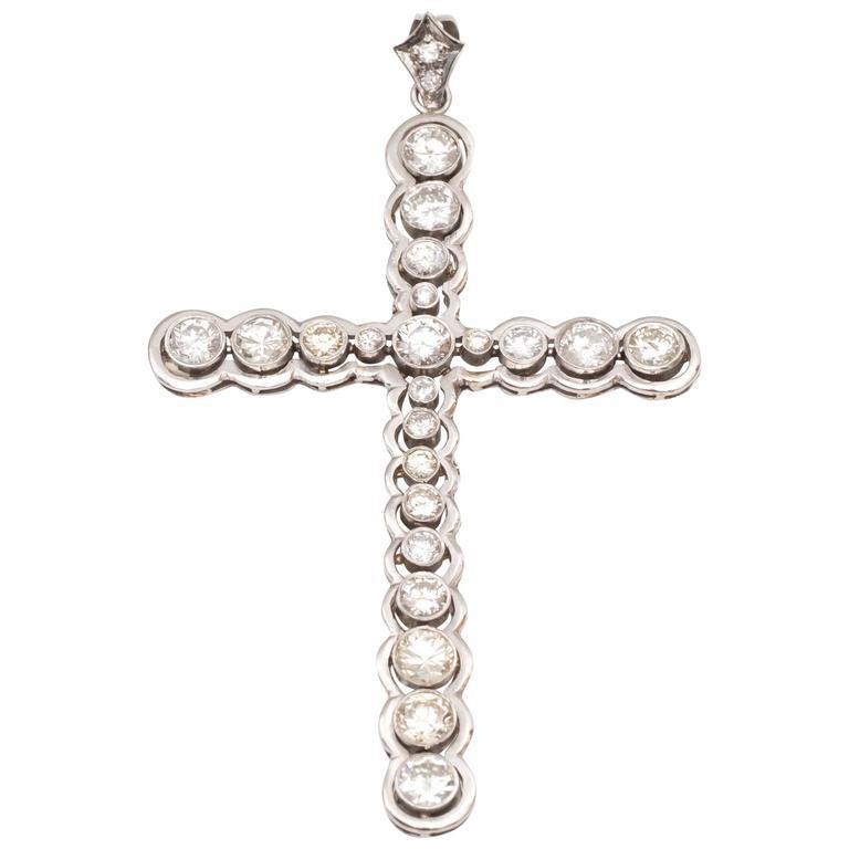 1980s Ornate Diamonds Gold Cross