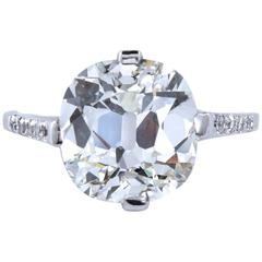 Art Deco Old Cushion Cut 5.01 Carat Diamond Engagement Ring GIA Certified