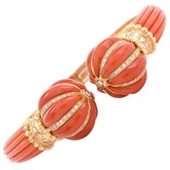 Italian Natural Coral Diamond Gold Cuff Bangle Bracelet