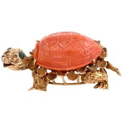 1960s Italian Coral Gold Turtle Brooch Pin