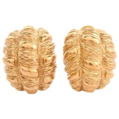 1970s Half Hoop Bombé Clip-Back Gold Earrings