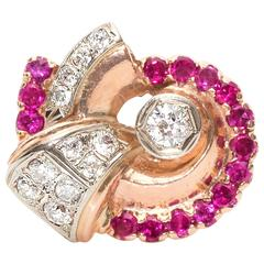 1950s Old European Diamonds Rubies Two Color Gold Ring