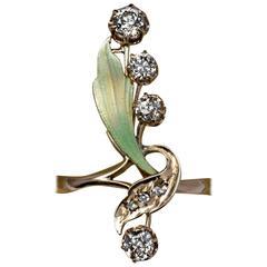 Antique Art Nouveau Enamel Diamond Gold Flower Ring