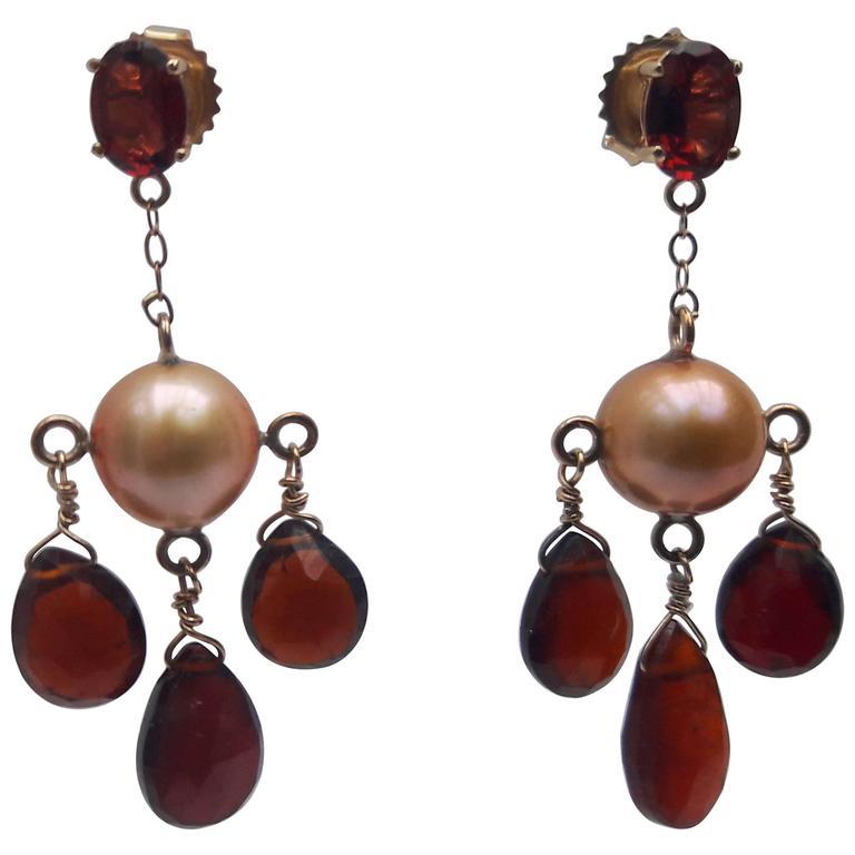 Marina J. Pearl Garnet Gold Dangle Earrings
