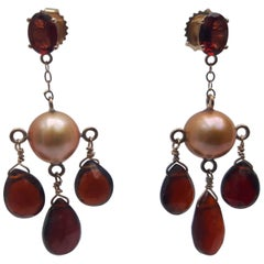 Marina J Golden color Pearl and Red Garnet Dangle Earrings with 14K Yellow Gold