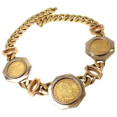 Bulgari Three Antique Gold American Coins Heavy Large Link Necklace