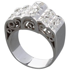 Diamond Gold Three Row Filigreed Motif Ring 1.80 Carats