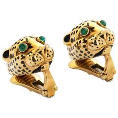 David Webb Pair of Enamel Gold Panther Earrings