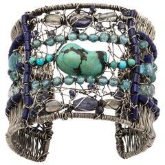 Turquoise Lapis Lazuli Aquamarine Crystal Woven Anodized Silver Bracelet