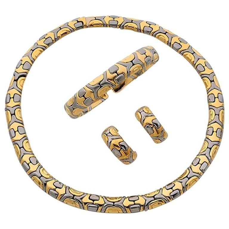 Bulgari Parentesi Stainless Steel Gold Set