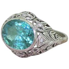 Art Deco 4.40 Carat Minor Oil Zambian Emerald Ring