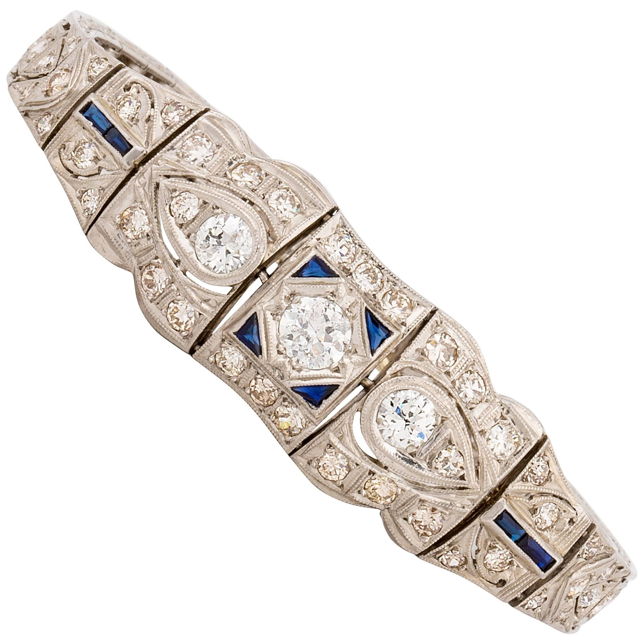 Art Deco Openwork Diamond Bracelet in Platinum