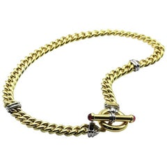 Signoretti Curb Link Gold Necklace with Tourmaline Accents