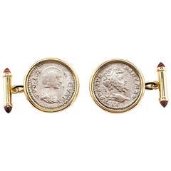 Dubini Empires Roman Ancient Silver Coin Garnet Gold Cufflinks