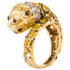 Lalaounis 18K Yellow Gold Enameled Lion Ring