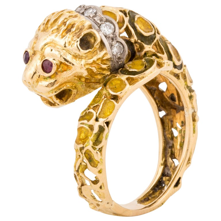 Lalaounis 18K Yellow Gold Enameled Lion Ring For Sale