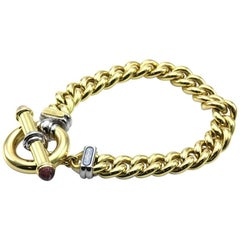 Signoretti Curb Link Gold Bracelet with Tourmaline Accents