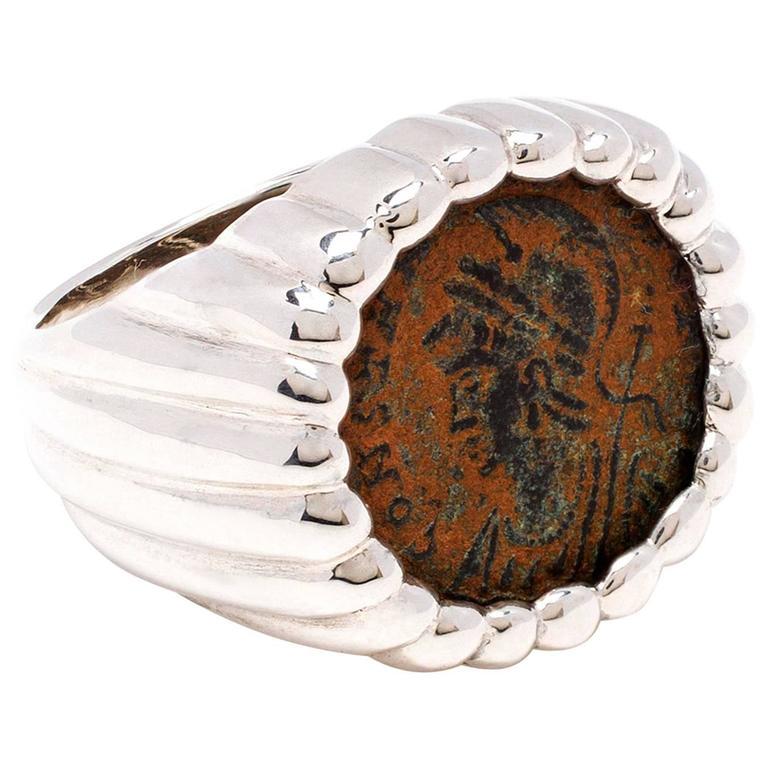 Dubini Constantine Ancient Bronze Coin Silver Ring