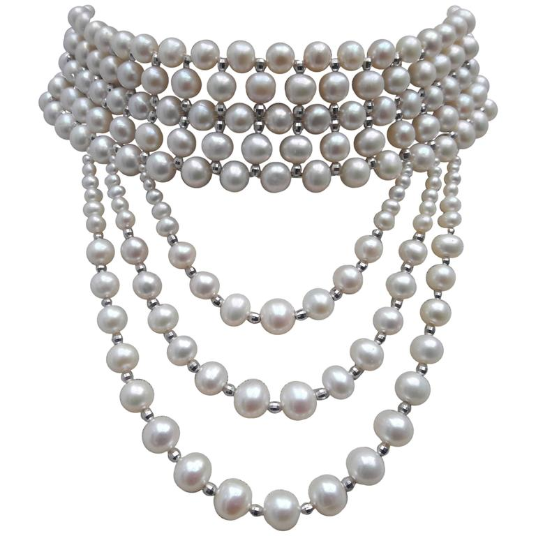 Woven White Pearl and 14 k White Gold Drape Choker and Rhodium Silver Clasp  For Sale