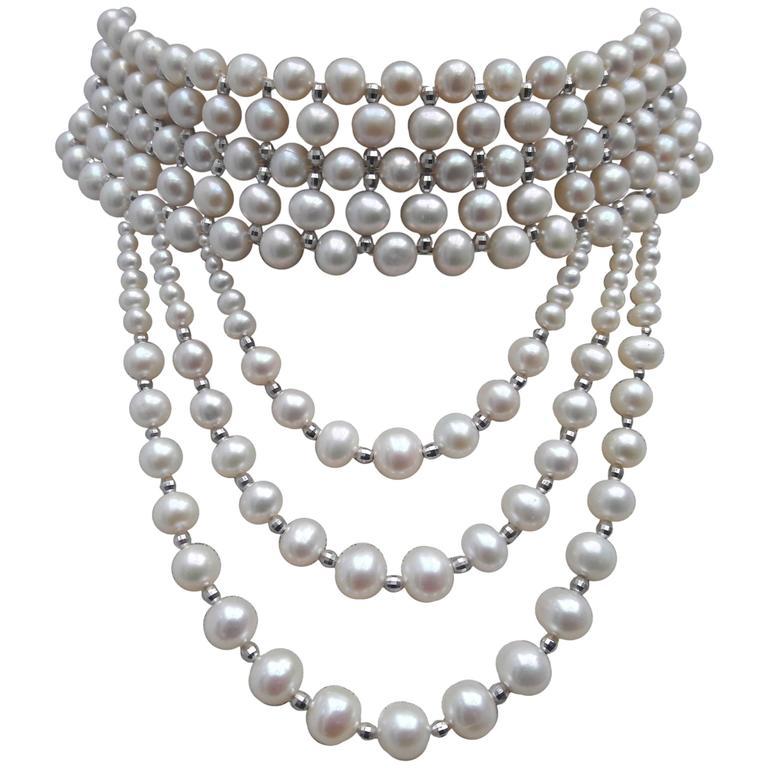 Marina J. Woven Pearl Gold Drape Choker Necklace 1