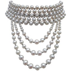 Marina J Woven Pearl and 14 k White Gold Drape Choker and Rhodium Silver Clasp