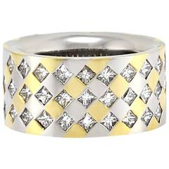 Princess Cut Diamond Gold Platinum Band