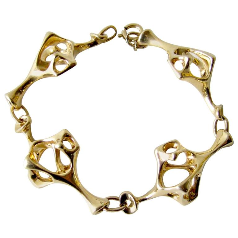 Everett Macdonald Gold Abstract Surrealist Link Bracelet For Sale