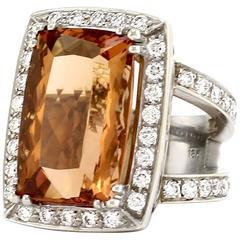 Precious Topaz  Pave Diamond Gold Ring