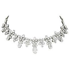 Harry Winston Diamond Platinum Pear-Shape Drop Necklace