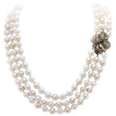 Luise Pearls Topaz Garnet Diamonds silver gold Necklace