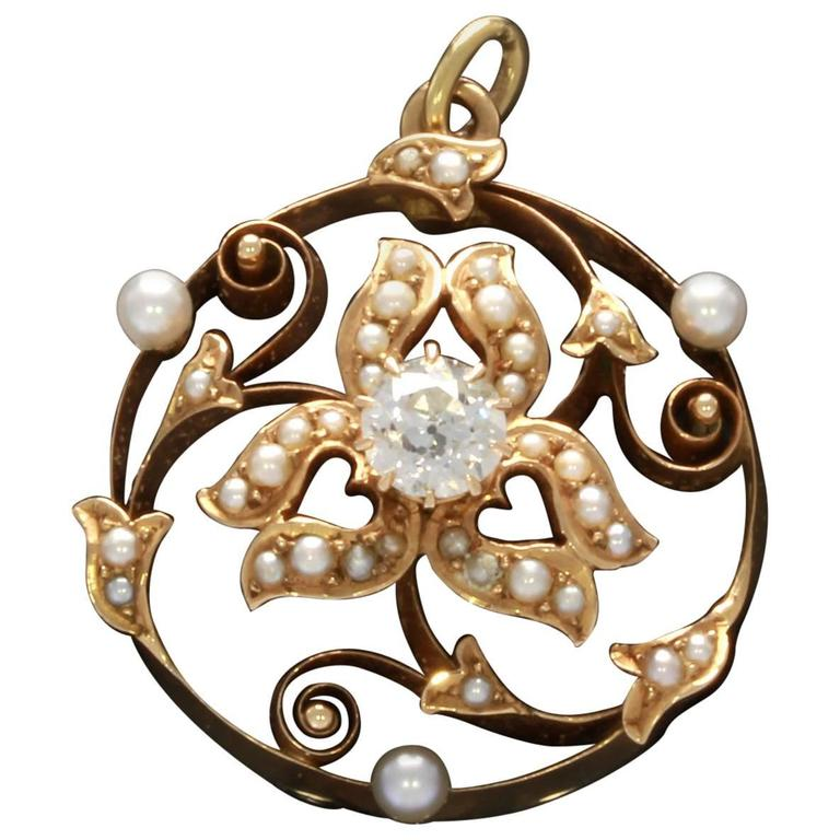 Art Nouveau Pearl Diamond Gold Pendant