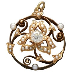 Art Nouveau Pearl Diamond Gold Pendant