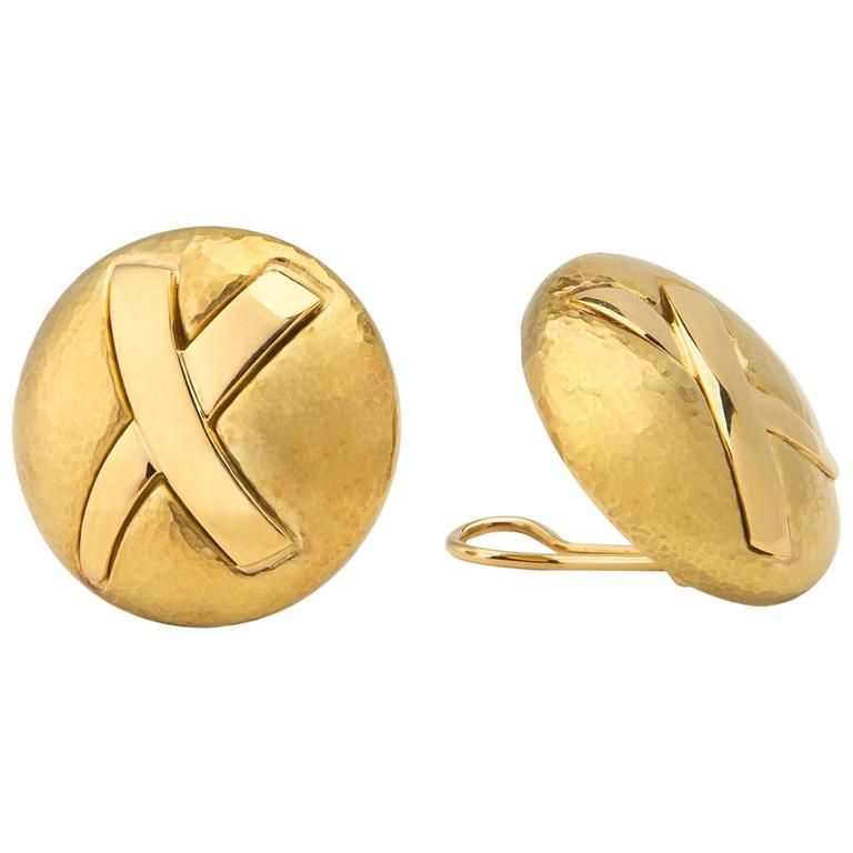 Tiffany & Co. Paloma Picasso Gold Disc X Earrings